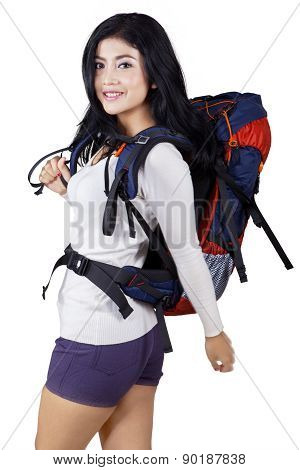 Cheerful Female Hiker In Studio