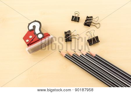 Office Tools Contain Pencil, Paperclip And Hole Punch