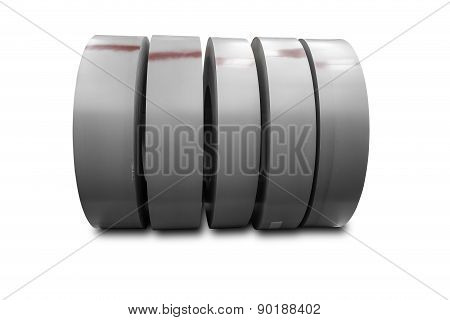 Rolls Of Metal Sheet On White