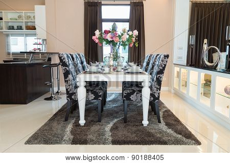 The Dining room with the decorative flower