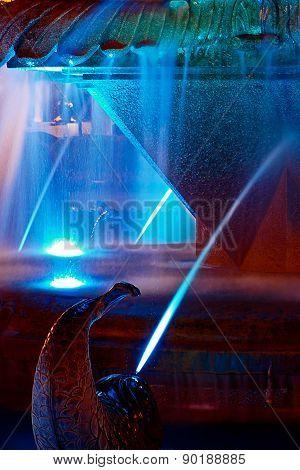 Blue Illuminated Fountain On The Plaza Opera In Timisoara 3