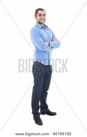 Full Length Portrait Of Handsome Arabic Business Man Isolated On White