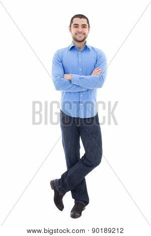 Young Arabic Bearded Business Man In Blue Shirt Isolated On White