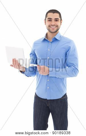 Handsome Arabic Man With Laptop Isolated On White