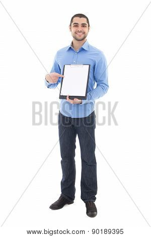 Young Handsome Arabic Man Showing Clipboard With Copy Space Isolated On White