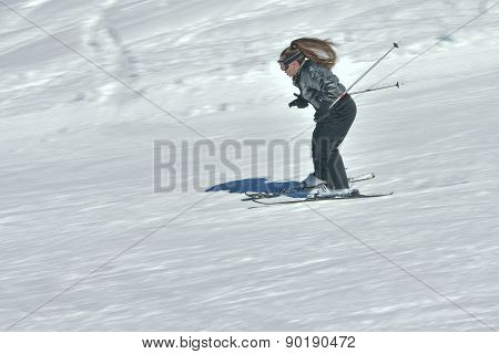 Teenage Girl Skiing In Austria