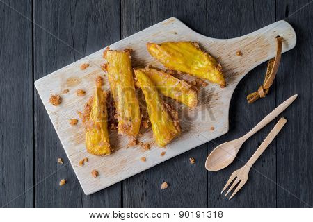 Sweet Potato Fries With Wood Blockand Wood Spoononwood Board