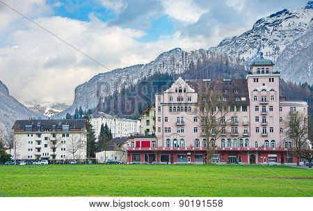 Mountains And Historic Architecture In Interlaken, Switzerland