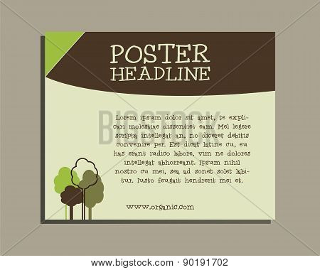 Ecology banner. Go organic and go natural poster design. Lovely colors. Green trees. Vector