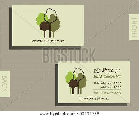 Eco, organic visiting card template. For natural shop products and other bio, organic business, them