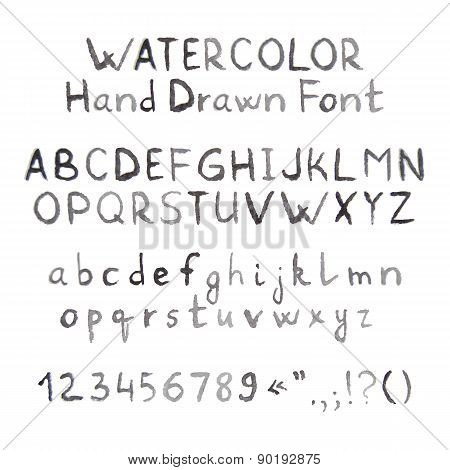Dark Grey Watercolor Hand Drawn Font