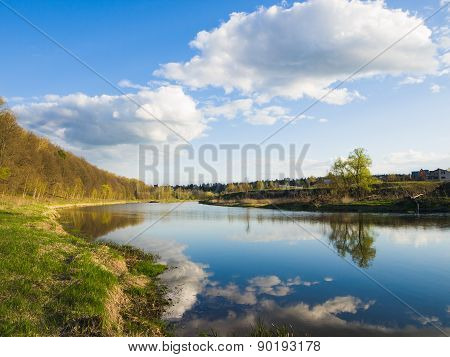 Beautiful photo of the river on a clear spring day