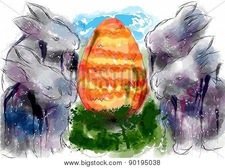 Rabbits And Egg