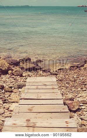 Dock And Blue Sea Vintage