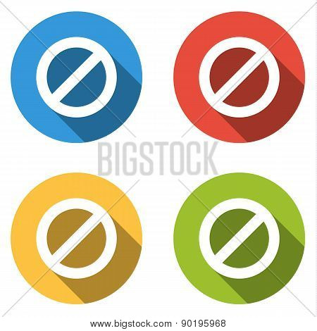 Collection Of 4 Isolated Flat Colorful Buttons For Ban With Long Shadow