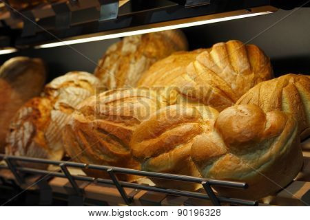 Bread On The Shelf In Bakery