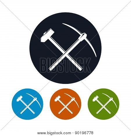 Icon of a Crossed Pickaxe and Sledgehammer
