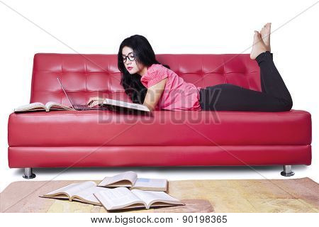 Young Student Studying On Sofa