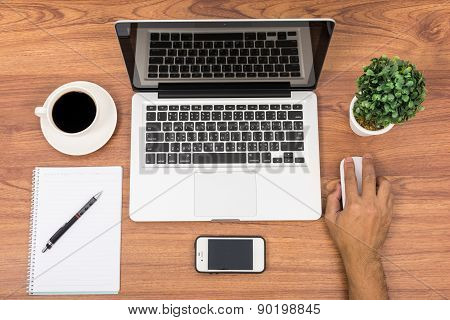 Top View Laptop Or Notebook Workspace Office