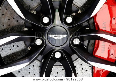 Logo Of Aston Martin On Wheel