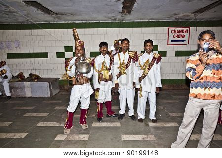 Members Of A Brass Band Show Their Repertoire To The Audience In A Passage Underground