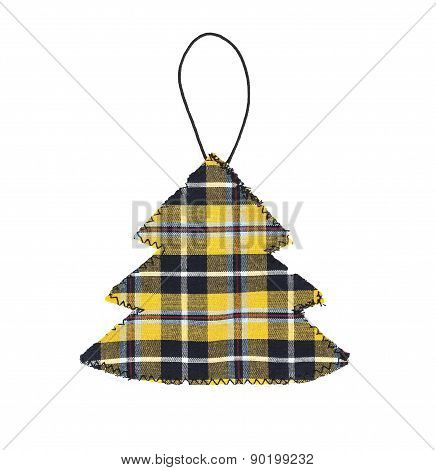 Christmas Tree Decoration In Cornish Tartan, Isolated On White.