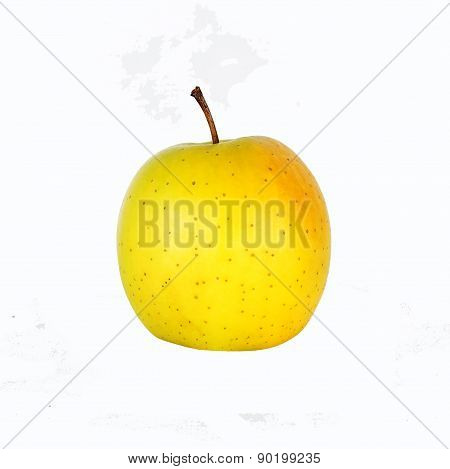 One Whole Golden Delicious Apple Isolated On White Background.