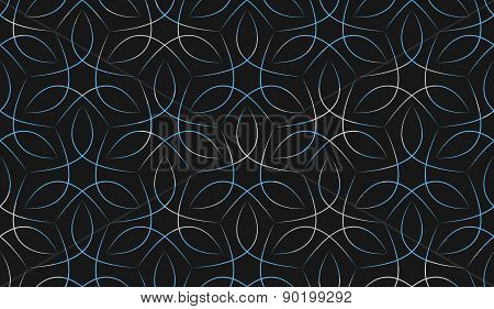 Seamless blue and white vine line background