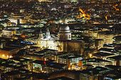 stock photo of london night  - Aerial overview of London city with the St Pauls Cathedral at night - JPG
