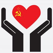 picture of hammer sickle  - Hand showing USSR flag in a heart shape - JPG