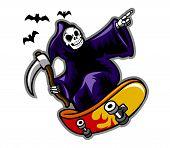 image of skate board  - Grim reaper on skate board - JPG