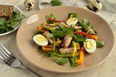 stock photo of quail egg  - Fish salad with quail eggs - JPG