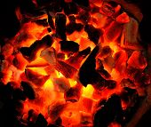 image of charcoal  - Hot  fire  burning the charcoal for background - JPG