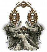 stock photo of crucifiction  - Victorian letter O with Jesus Christ enfeebled by the weight of the cross - JPG