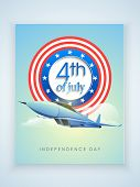 image of cloudy  - Glossy missile with stylish badge for 4th of July - JPG
