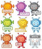 picture of alien  - Cartoon aliens with color signs may be used as teaching aid for language learning no gradients - JPG