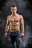 image of shirtless  - Handsome shirtless muscular young man - JPG