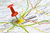 picture of torino  - Close up of Torino Italy on a map with red pin - JPG