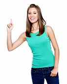 stock photo of casual woman  - Young beautiful woman with big idea  - JPG
