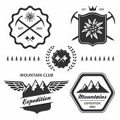 picture of edelweiss  - Mountain hiking outdoor symbol emblem label collection set - JPG