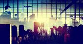 picture of hustle  - Business People Rushing Walking Plane Travel Concept - JPG