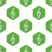stock photo of g clef  - Symbol of treble clef in hexagon - JPG