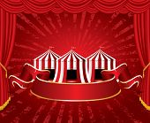 picture of circus tent  - circus tent icons with red blank banner on red velvet stage  - JPG
