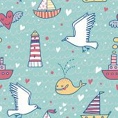 picture of lighthouse  - Sweet marine concept seamless pattern - JPG