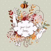 image of cute  - Vintage floral wedding invitation with cute rabbits - JPG