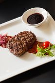 foto of chateaubriand  - meat steak with sauce - JPG