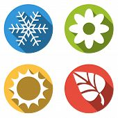 picture of seasonal  - Set of 4 isolated flat colorful buttons for 4 seasons icons  - JPG