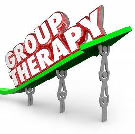 picture of feeling better  - Group Therapy words in red 3d letters on a green arrow lifted by people or patients sharing feelings and discussing treatment and ways to get better - JPG