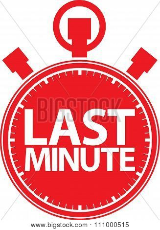 Last Minute Stopwatch Icon red label, Vector Illustration