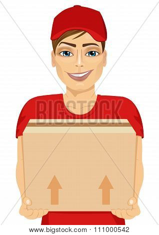 delivery man holding and carrying a cardbox